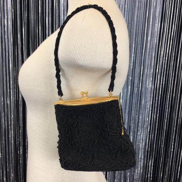Vintage Handbags - 1940s Vintage Black Beaded Hong Kong Evening Bag